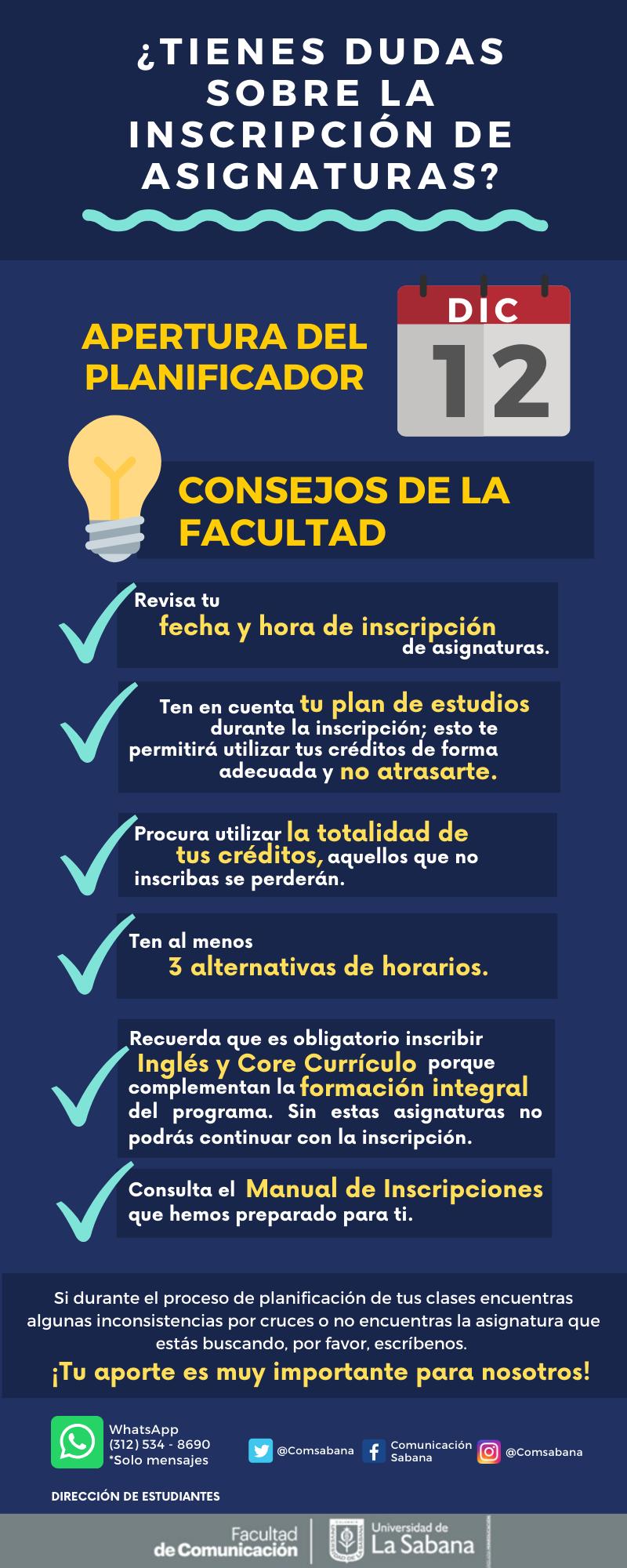 Consejos Facultad de Comunicación Inscripción de Asignaturas