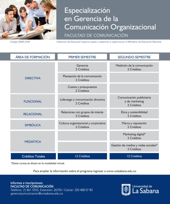 Plan de estudios - Especialización en Gerencia de la Comunicación Organizacional