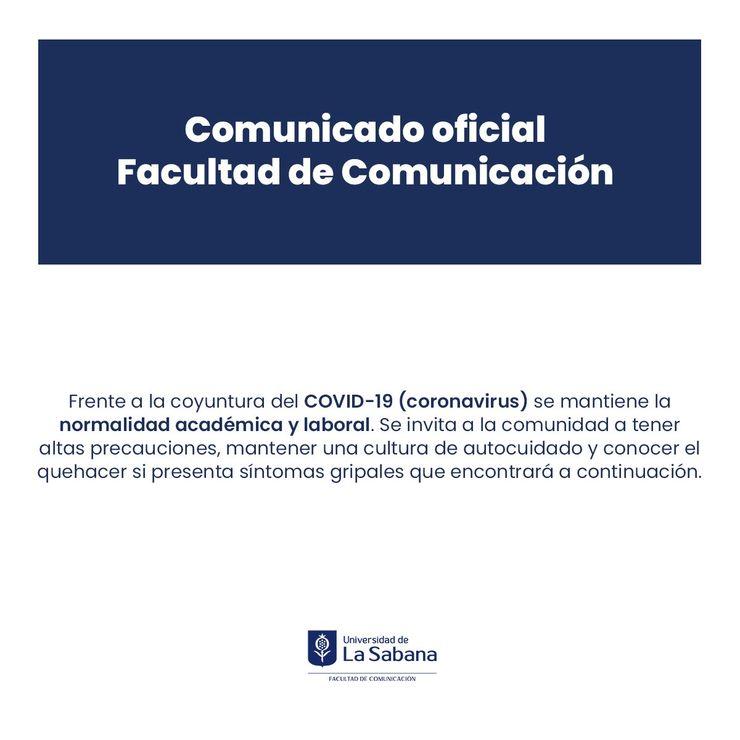 Comunicado Oficial Covid-19 Facultad de Comunicación