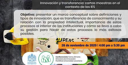 Webinar Innovación y Transferencia cartas maestras en el contexto de las IES