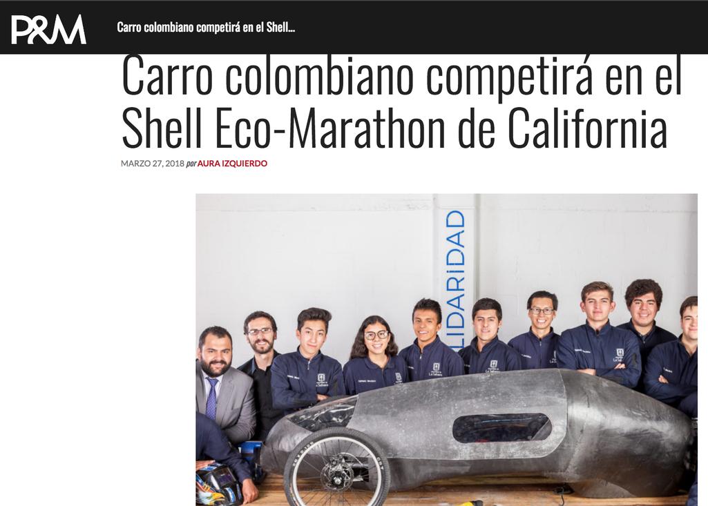 Carro colombiano competirá en el Shell Eco-Marathon de California