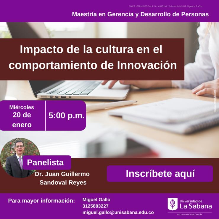 Evento impacto de la cultura en el comportamiento de innovación, psicología